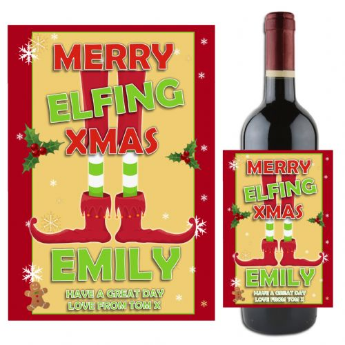 Personalised Christmas Xmas Elf Wine Champagne Bottle Label N95- Gift Idea